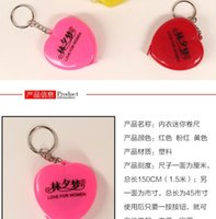 Wholesale Heart shaped retractable tape measure soft feet Body underwear bra bust ruler keychain