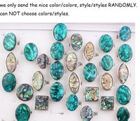 Wholesale Fashion Abalone Shell Ring Jewelry Shell Natural Stone Ring ZR13
