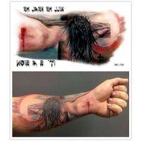 armed cross tattoos - 2015 New Halloween Makeup Jesus Cross Tattoo Big Arm Non poisonous Waterproof Tattoo Stickers Temporary