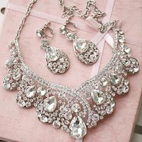 Fascinators austrian crystal jewlery - Victorian Austrian Rhinestone Crystal Necklace Earrings Set Bridal Wedding Jewlery