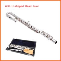 Wholesale High Quality Flute Straight U shaped Head Joint Silver Plated Holes C Key Cupronickel for Children Flautists with Box