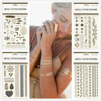 Wholesale 500 Style Body art Painting Tattoo stickers glitter Metal Gold Silver Temporary flash tattoo Disposable indians tattoos tatoo stickerZ00186