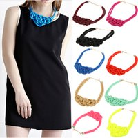 handmade gifts - 9Colors Handmade Fluorescent Rope Knitted Collar Chokers Necklace Women Statement Necklaces Neon Jewelry For Ladies Party Gift J0133