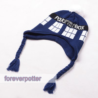 Wholesale NWT Doctor Who Hat Blue TARDIS Design Warm Knitted Braided Beanie Bobble Hat Cosplay Accessory Gifts