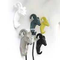 Wholesale Leisurely to see the sheep home accessories photo wall hooks retro wooden three dimensional animal coat resin copper door
