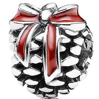 red heart charm - Red Bow Pine Cone Charm Sterling Silver European Charms Bead Fits Pandora Snake Chain Bracelets Jewelry Beads