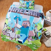 queen size bedding set - 3D Bedding Sets MineCraft Design Printed Bedding Bag and Pillowcase High Quality Cotton Kids Bedding Set Twin Full Queen Size