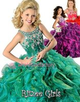 Wholesale 2015 New Hot Red Purple Green Girls Pageant Dresses Crew Beaded Rhinestone Ruffles Ball Gown Floor Length Organza Flower Girl Gowns