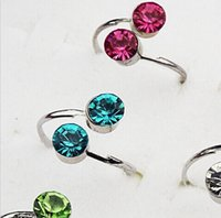 acrylic toes - Fashion Jewelry Rings Packs Cherry Fruit Crystal Toe Ring Ring Mixed Color T001