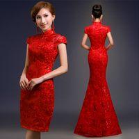 Wholesale Gorgeous Sheath High Neck Short Sleeves Zipper Back Slim Chinese Dresses Festive Red Lace Short Cheongsam Mini Bridal Gowns Custom Made