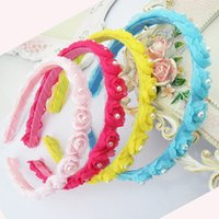 Cheap Children's Hair Accessories Hair Bands Baby Performances Headdress Hair Clips Rose Flower with Pearl Cute Christening Dresses Girls