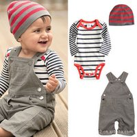 Wholesale Hot selling New arrival Baby suit Boy clothes Kid overalls Baby Romper Cap set baby boy suit Made of cotton Sport set