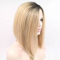 Wholesale hot sales new fashion ombre lace bob wig synthetic hair lace front synthetic wigs heat resistant fiber for women