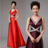 Wholesale 2015 Crystal Fashion Satin Bandage Prom Dress Purple Red Golden Sapphire Long Formal Gown For Women