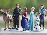Wholesale Frozen Dolls Frozen Anna Elsa Hans Kristoff Sven Olaf PVC Action Figures Toys Kids Doll Christmas gift free ship