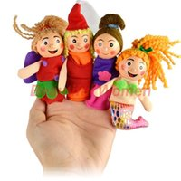 Cheap 4Pcs Cartoon Soft Plush Puppet Finger Toys Educational Story-Telling Doll For Children #012 6909 3F