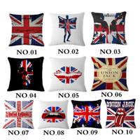 Cheap Pop Union Jack Flaglinen Cotton Decorative Pillow England Flag Home Decor Cushion Sexy Lip Sofa