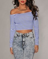Wholesale 2014 New women blouse Stripes Off the shoulder Cropped Top Slash Neck long sleeve clothing B7002