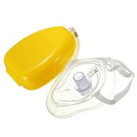 Wholesale High Quality Smooth Pocket Size CPR Mask Resuscitator With Hard Case Mini Box Yellow