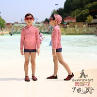 split shorts - 2015 New Lovely Boys Kids Swimwear Children Split Long Sleeve Swimsuit Pink Stripes Swim Shorts Seperate Two Pieces Bathing Suit Free Cap