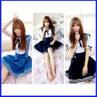 Wholesale Fashion Lolita Japanese students sailor suit women Cartoon Short sleeve suits princess mini skirt dress cosplay Sexy Costumes