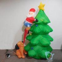 inflatable christmas - Merry Christmas Decoration Inflatable Dog Bite Inflatable Santa Claus On Christmas Tree with Bulbs Navidad