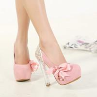 Sweet Pink Cristal Chaussures Platform High Heels Avec Bowtie Femmes Pompes Hot Vente Taille 34 à 39