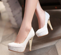 Wedding Pumps Medium(B,M) 2015 Glitter Lady Spring Dress Shoes Stiletto Heel Platforms White Gold Wedding Dress Shoes Sparkling Nightclub Party Prom Shoes