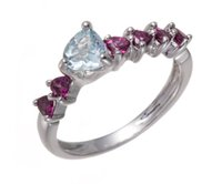 aquamarine and silver rings - Women s Natural Aquamarine and Rhodolite Garnet Gemstone Sterling Silver Heart Ring