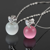 apple charms - 2016 sterling silver Plated Clavicle Necklace Charm Small Apple Opal Pendant HOT Jewelry gemstone jewelry
