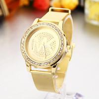 Wholesale Hot fashion Euramerican style steel mesh belt gold diamond watch high grade steel explosion female golden watch fashion suit