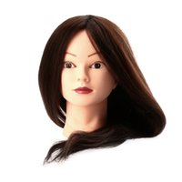 Wholesale 23 quot Human Hair Hairdressing Training Model Salon Brown Long Synthetic Hair Model with Clamp order lt no track