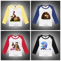 Wholesale New Kids t shirt Cartoon Masha and Bear Print Boy Girl tshirt Spring Autumn Cotton Long Sleeve Children Unisex Shirt Top Tee