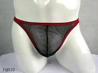 mens thong underwear - Mens Sexy Underwear See through Black Mesh Red String Low Rise Breathable Thongs Pouch Underware Black Hot Strappy Thongs One Dozen JIAOLUN