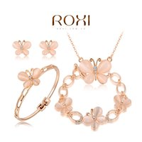 Wholesale 2015ROXI New Fashion New Arrival Summer Women butterfly Rose Gold Plated Earring Necklace Bracelet