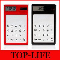 Wholesale 200pcs transparent Calculator Ultrathin Solar Calculator Touch Screen