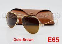 al por mayor objetivo de gran tamaño-1pcs Gafas de sol clásicas del diseñador Hombre Womes Sun Gafas Gafas de Oro Marco Marrón 58 mm Lentes de vidrio de metal grande con mejor Brown caso
