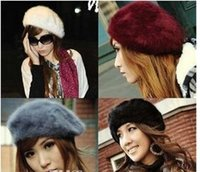 Wholesale Fall Winter New Pretty Girls Wool Berets Fashion Women Warm French Beret Hats Ladies Berets Girls Rabbit fur Caps colors