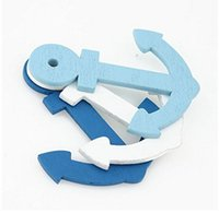Wholesale 100pcs wood carving Anchor Mixed ship rudder wooden Scrapbooking Craft for nautical home decor Diy hobby x25mm Z611