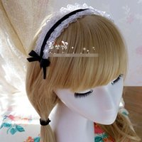 Wholesale DIY Handmade Japanese style lace ribbon bowknot hair clasp Lolita maid cosplay costume head band hair accessories