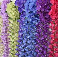 Wholesale 10pc Artificial Wisteria Flower Rattan Silk Flower Vines Garlands For Wedding Party Centerpieces Decorations Home Ornament