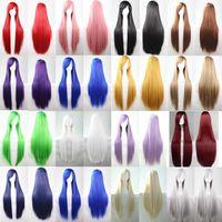Wholesale 80cm pelucas sinteticas harajuku lolita synthetic wigs anime cosplay wig perruque synthetic women pelucas airola red purple beige