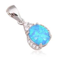 australia stamps - Australia Zirconia Retail Top selling Blue fire Opal Fashion jewelry Stamped Silver Necklace Pendants OP559