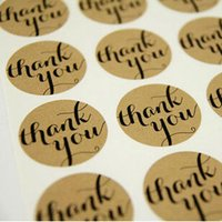 Wholesale CM DIY Scrapbooking Kraft Paper Thank You Labels Envelopes Stickers handmade Seals Sticker
