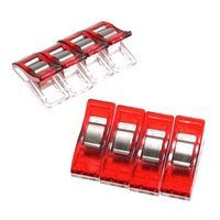 Wholesale 36 DIY Patchwork Fabric Quilting PVC Sewing Knitting Craft Plastic Wonder Red Clips Holder Plastic Stationery