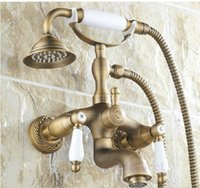 antique style telephone - And Retail Promotion Telephone Style Shower Faucet Antique Brass quot shower head Bathroom Mixer tap