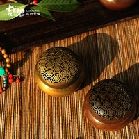 Wholesale Red copper temple The peony pattern small circular furnace Copper hand warmer