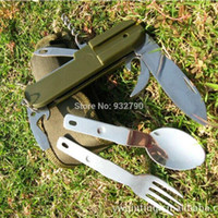 Wholesale Camping Multi Tool Essential Eating Utensils Food Multi function mess Knife Spoon Fork Cork Screw Bottle Opener kit