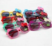 popular sunglasses - 2015 New arrival Girls Sunglasses Fashion Kitten Children Sunglasses popular bowknot Kids Goggles hot sell children s glasses LJ0047