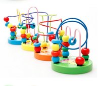 Wholesale 5 Colorful Wooden Toy Mini Around Beads Wire Maze Children Baby Educational Game
